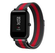 Strap-it® Xiaomi Amazfit Bip Milanese band (zwart/rood)