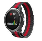 Strap-it® Garmin Vivoactive 3 Milanese band (zwart/rood)