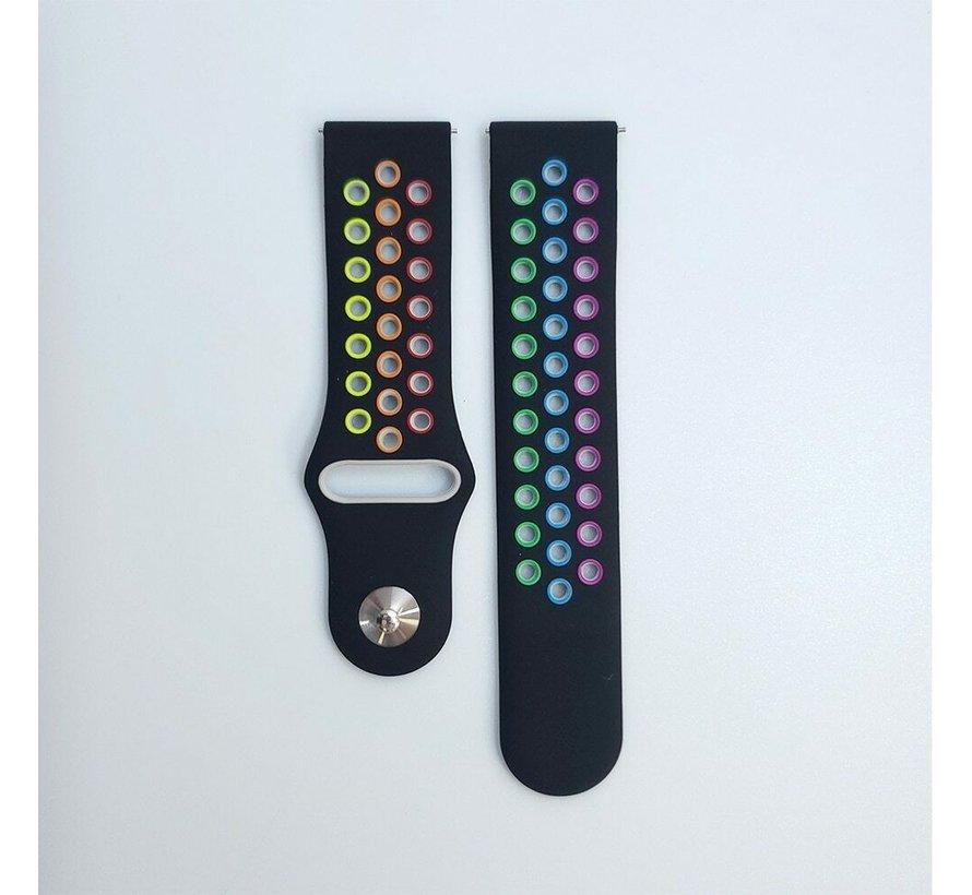 Strap-it® Samsung Galaxy Watch 3 sport band 41mm (zwart/kleurrijk)