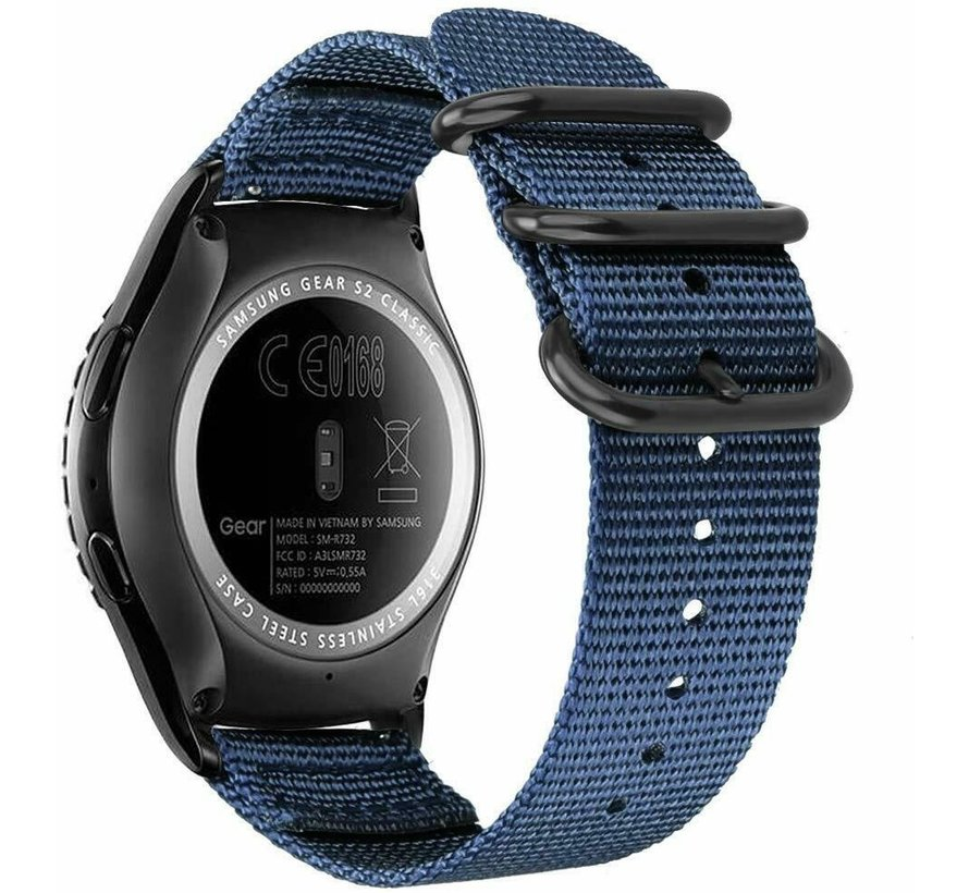Strap-it® Samsung Galaxy Watch 3 - 41mm nylon gesp band (blauw)