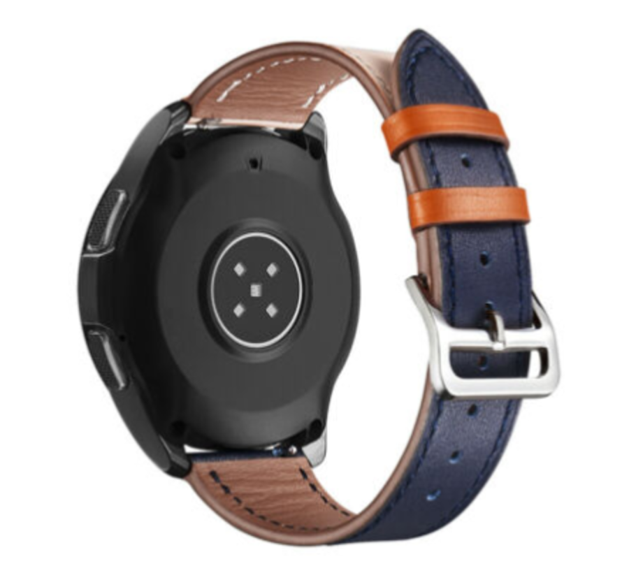Strap-it® Samsung Galaxy Watch 3 - 41mm leren bandje (wit/donkerblauw)