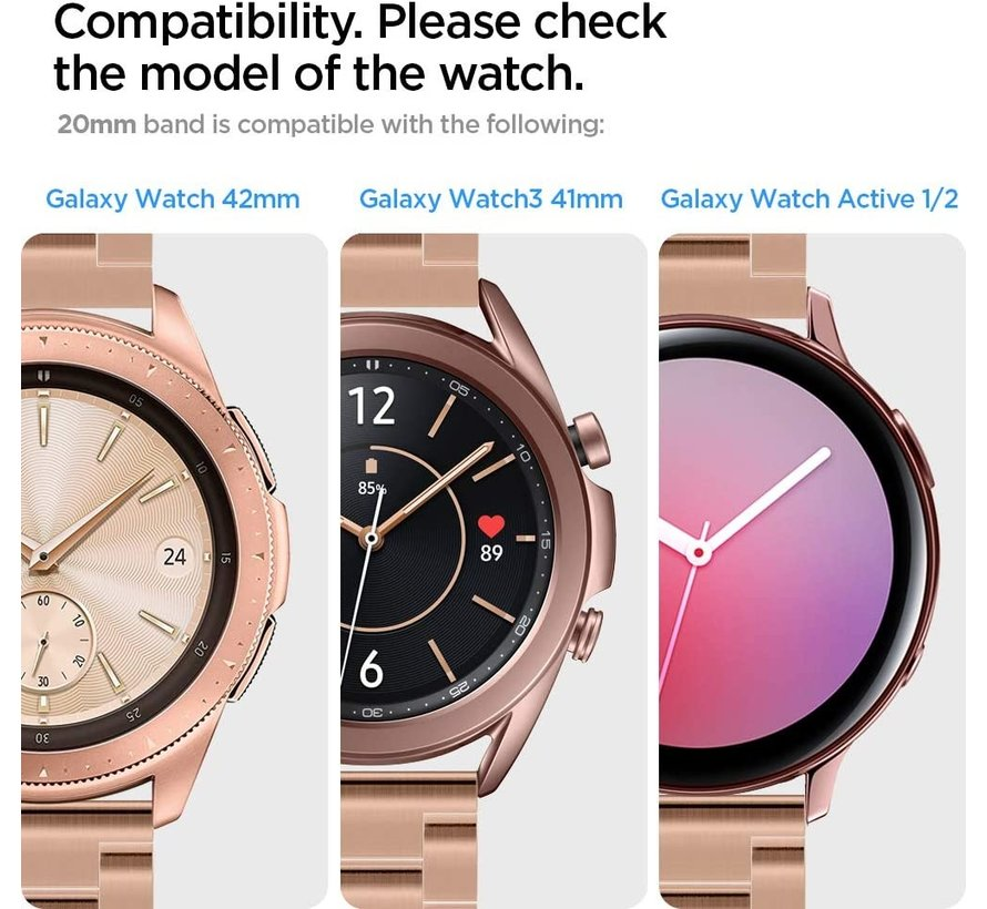 Strap-it® Samsung Galaxy Watch 3 - 41mm leren bandje (knalroze/roodbruin)