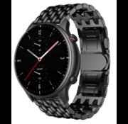 Strap-it® Xiaomi Amazfit GTR 2 / 2e stalen  draak band - zwart - bandbreedte 22mm
