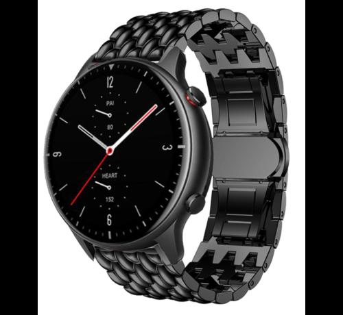 Strap-it® Strap-it® Xiaomi Amazfit GTR 2 / 2e stalen  draak band - zwart - bandbreedte 22mm