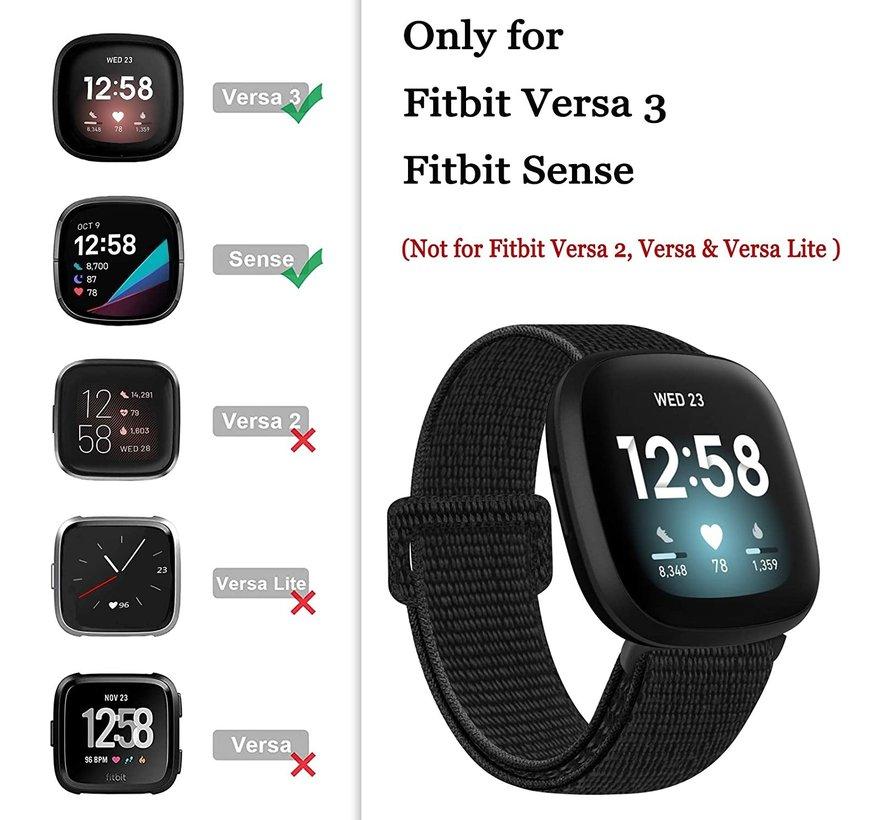 Strap-it® Fitbit Sense nylon bandje (zwart)