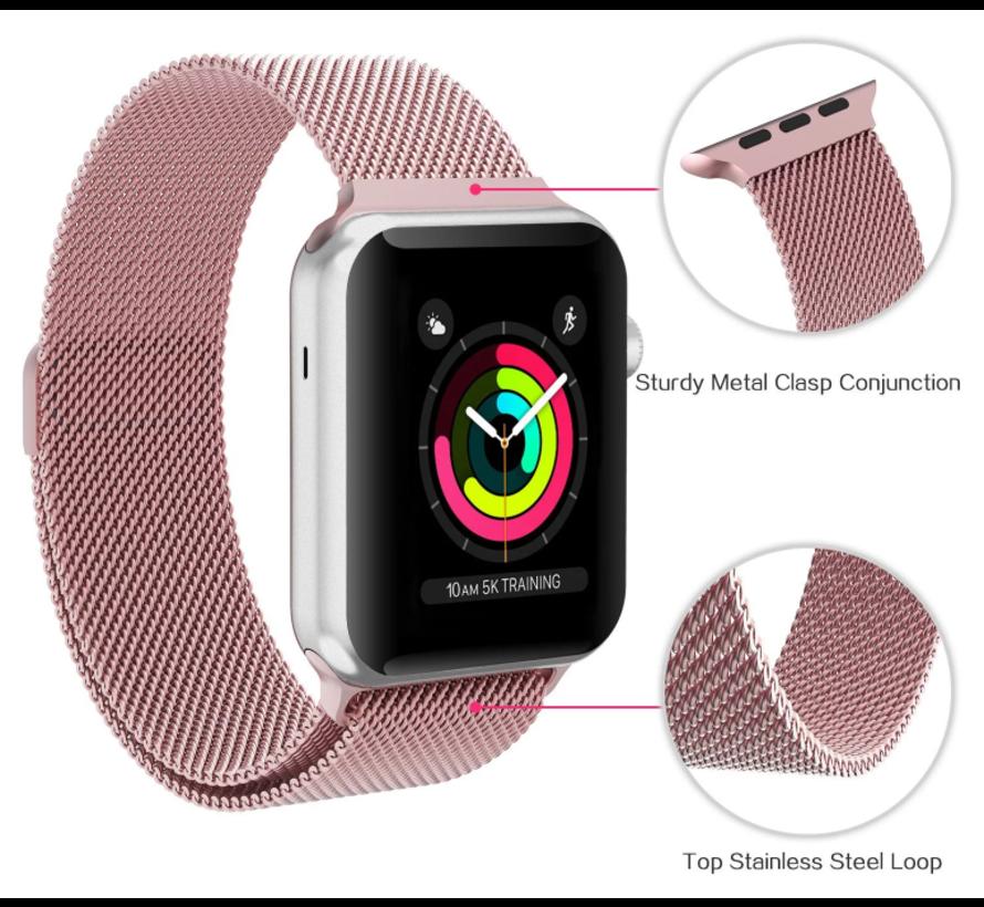 Strap-it® Apple Watch Milanese  band (roze)