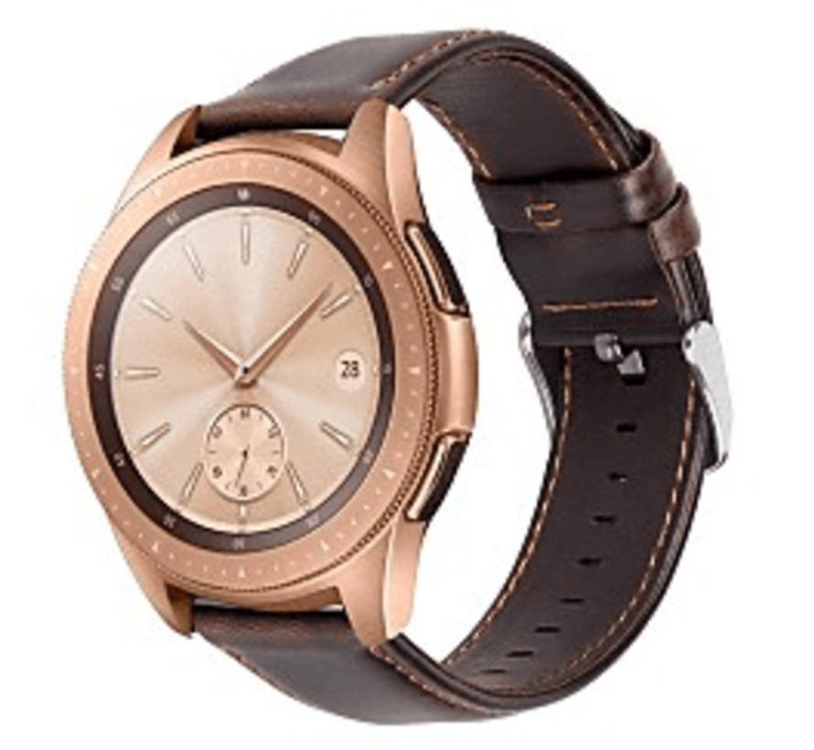 Strap-it® Samsung Galaxy Watch leren band 41mm / 42mm (donkerbruin)