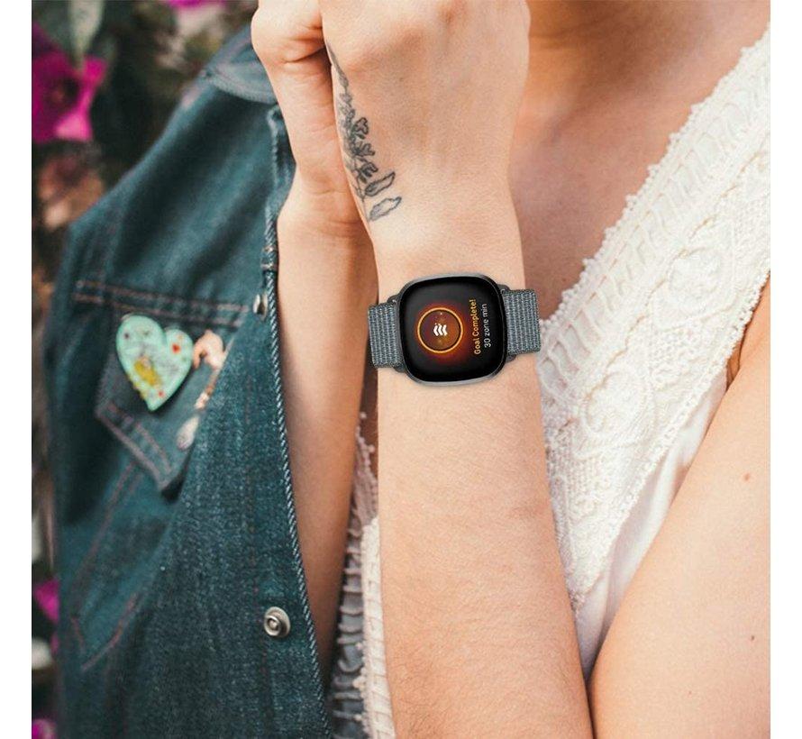 Strap-it® Fitbit Sense nylon bandje (grijs-groen)