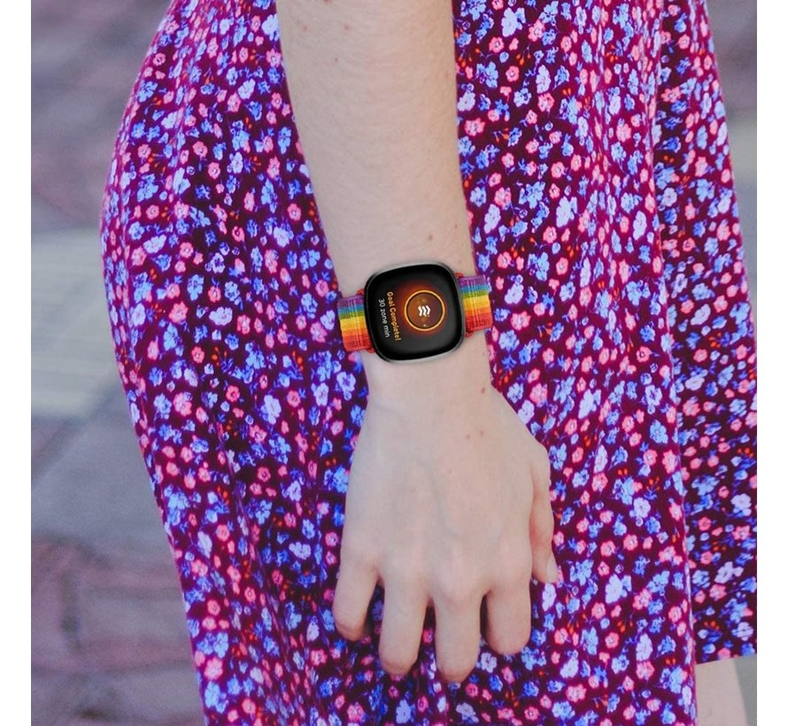 Strap-it® Fitbit Sense nylon bandje (regenboog)