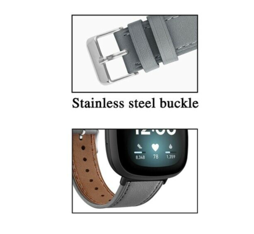 Strap-it® Fitbit Versa 3 bandje leer (grijs)