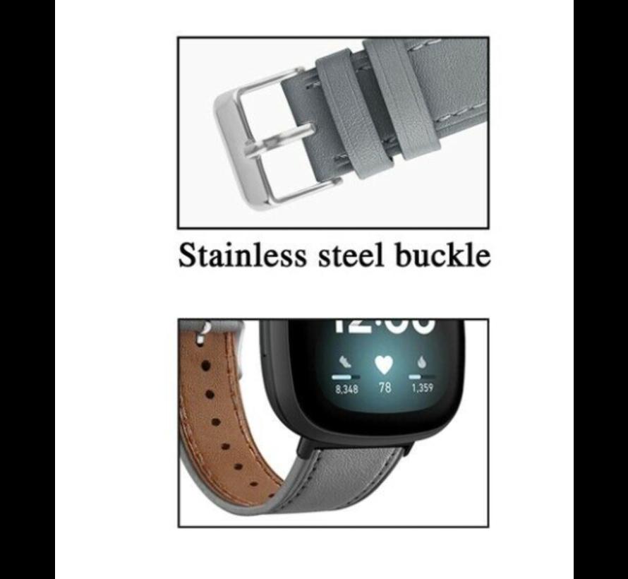 Strap-it® Fitbit Sense bandje leer (grijs)