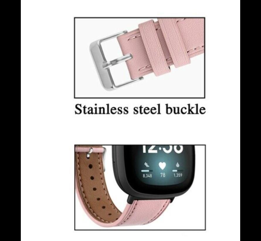 Strap-it® Fitbit Sense bandje leer (roze)