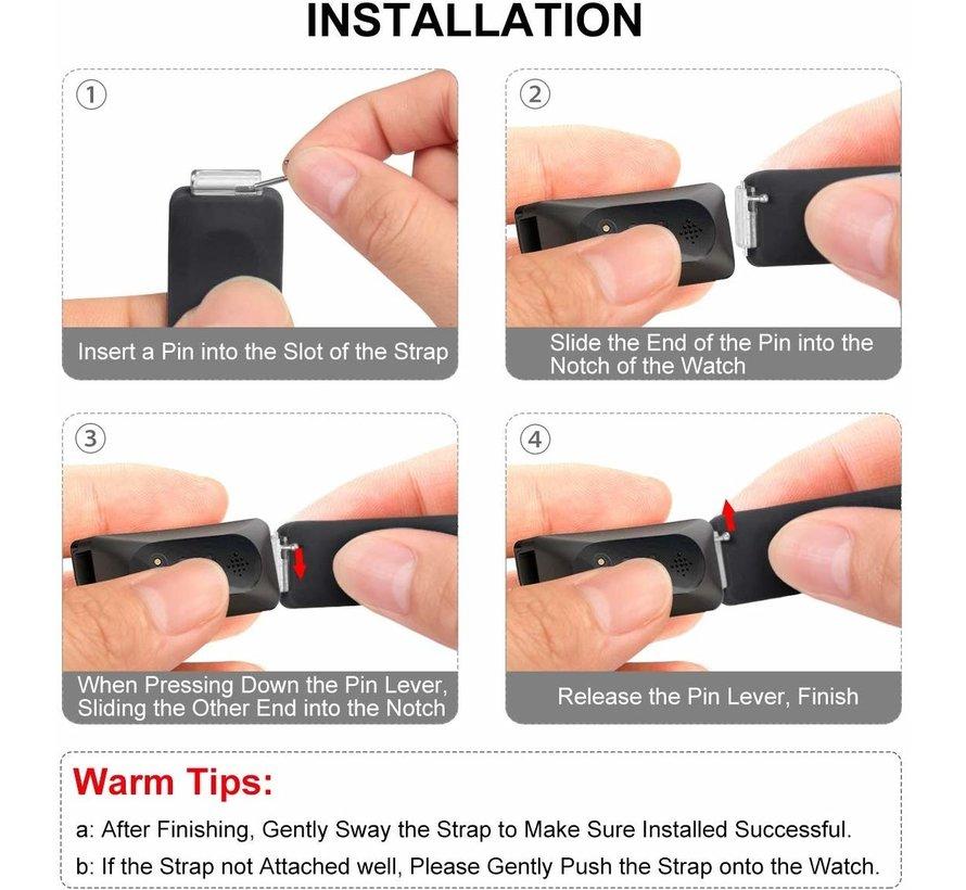Strap-it® Fitbit Inspire (HR) sport band (wit/zwart)