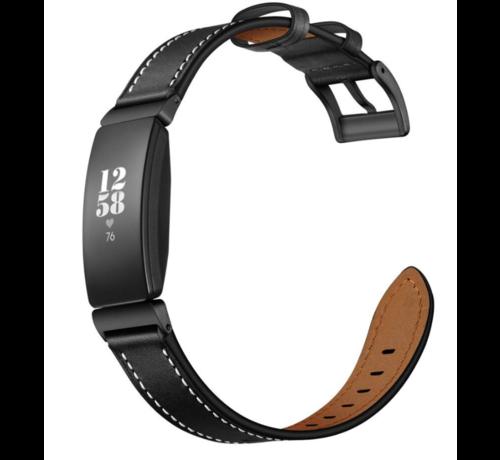 Strap-it® Strap-it® Fitbit Inspire leren bandje (zwart)