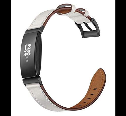 Strap-it® Strap-it® Fitbit Inspire leren bandje (wit)