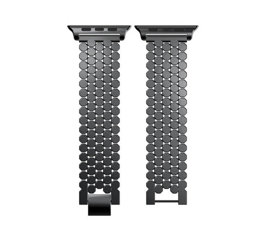 Strap-it® Apple Watch stalen vis band (zwart)