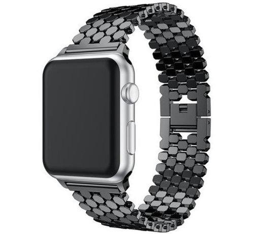 Strap-it® Strap-it® Apple Watch stalen vis band (zwart)