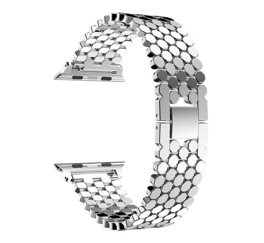 Strap-it® Apple Watch stalen vis band (zilver)