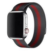 Strap-it® Apple Watch Milanese band (zwart/rood)