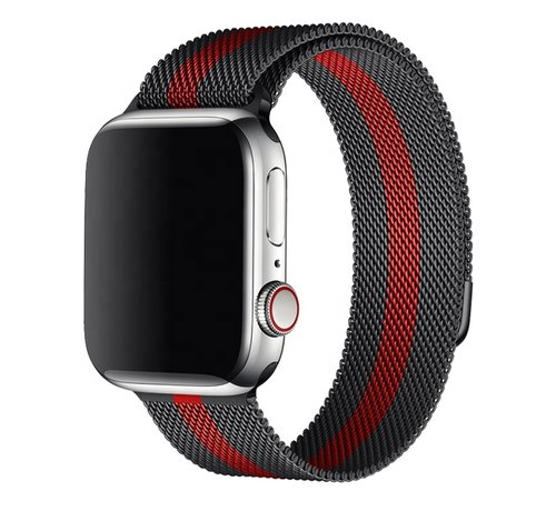 Strap-it® Strap-it® Apple Watch Milanese band (zwart/rood)