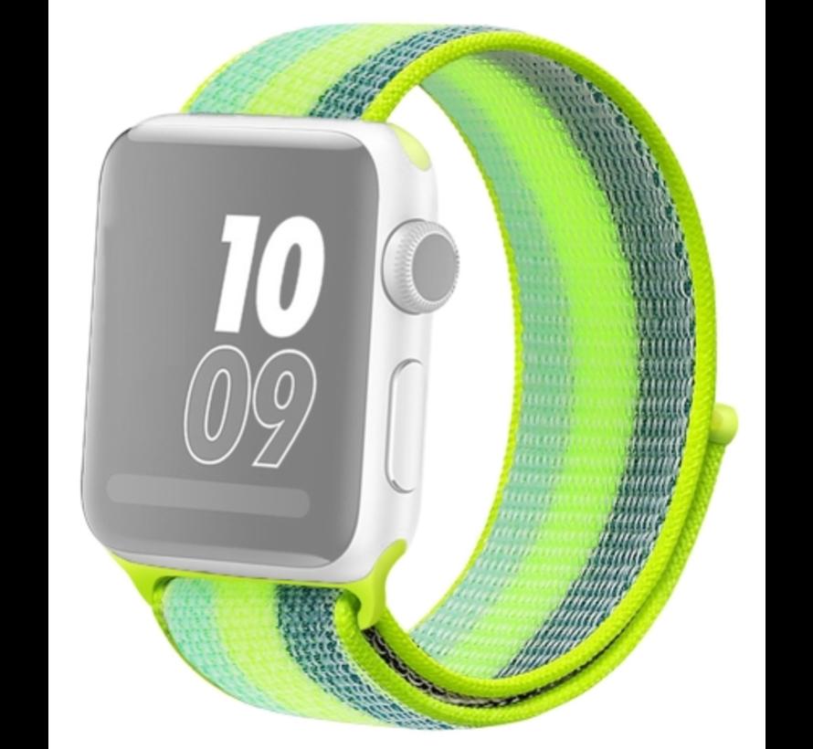 Strap-it® Apple Watch nylon band (groen/geel)