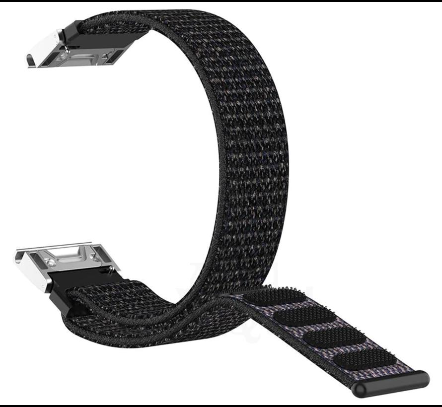Strap-it® Garmin Fenix 5 / 6 nylon band (zwart)