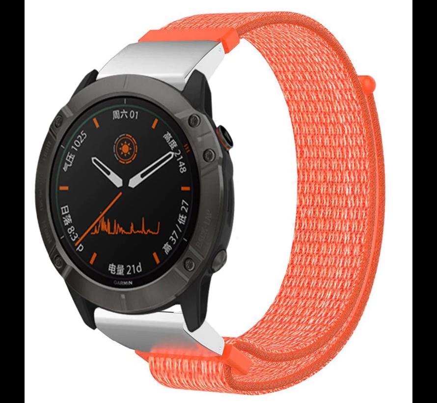 Strap-it® Garmin Fenix 5 / 6 nylon band (oranje)