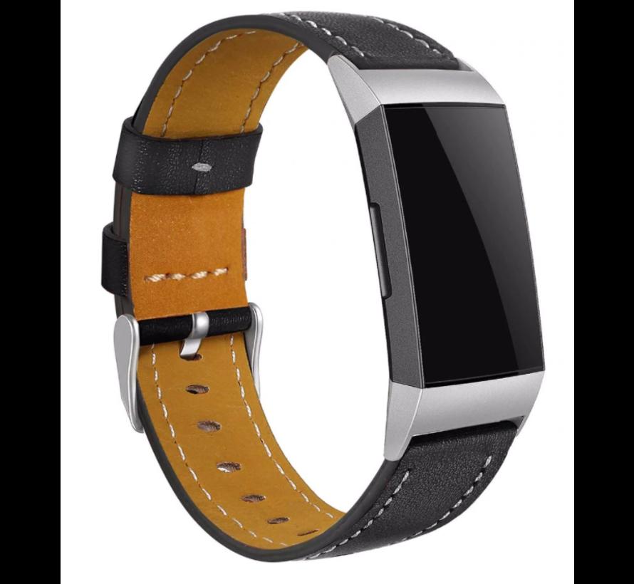 Strap-it® Fitbit Charge 3 bandje leer (strak zwart)