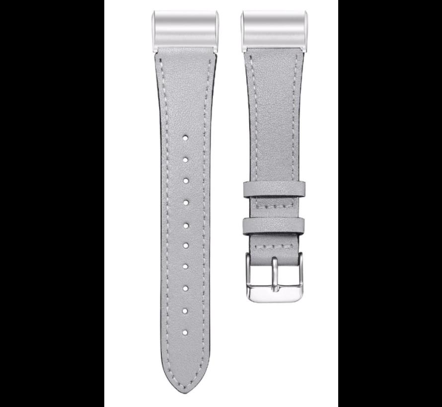 Strap-it® Fitbit Charge 3 bandje leer (strak grijs)