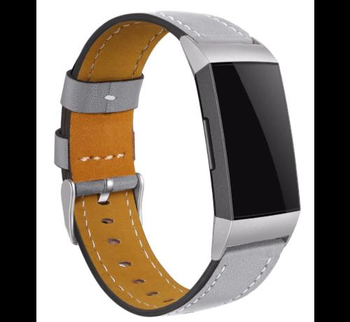 Strap-it® Strap-it® Fitbit Charge 3 bandje leer (strak grijs)
