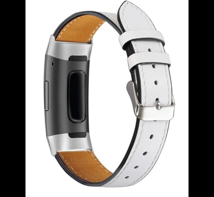 Strap-it® Fitbit Charge 3 bandje leer (wit)