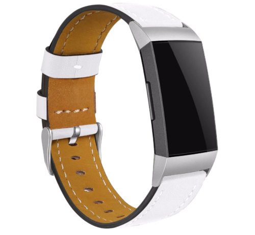 Strap-it® Strap-it® Fitbit Charge 3 bandje leer (wit)