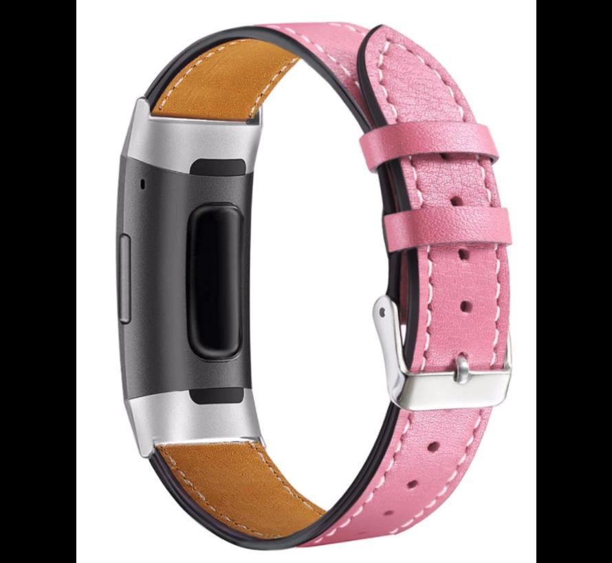 Strap-it® Fitbit Charge 3 bandje leer (roze)