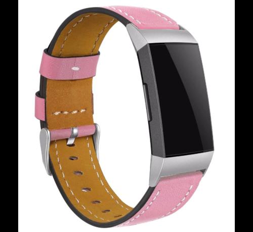 Strap-it® Strap-it® Fitbit Charge 3 bandje leer (roze)