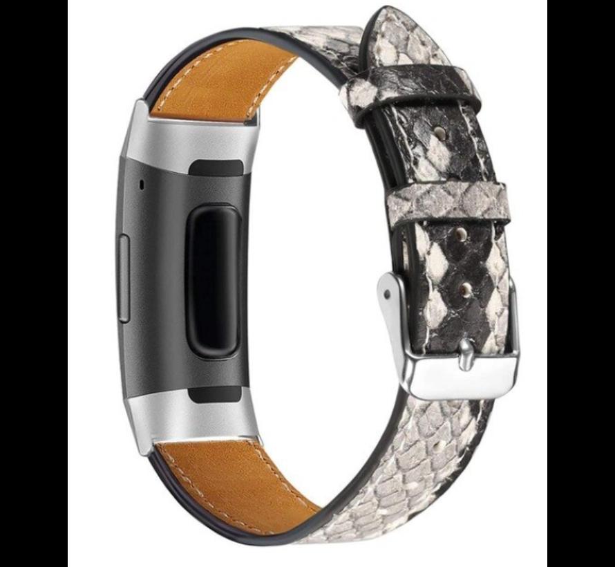 Strap-it® Fitbit Charge 3 bandje leer (slangenprint)