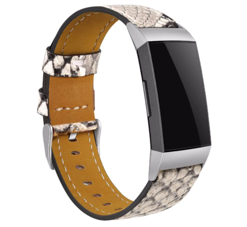 Strap-it® Strap-it® Fitbit Charge 3 bandje leer (slangenprint)