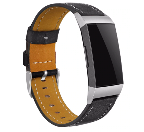Strap-it® Strap-it® Fitbit Charge 4 bandje leer (strak zwart)