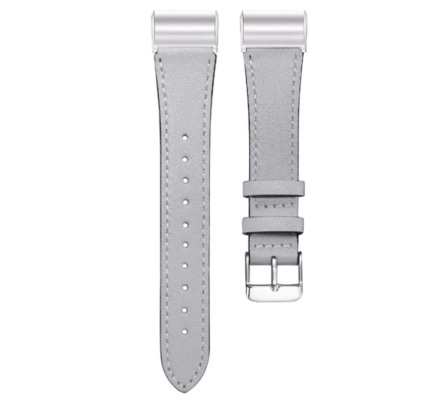Strap-it® Fitbit Charge 4 bandje leer (strak grijs)