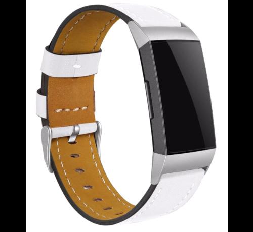 Strap-it® Strap-it® Fitbit Charge 4 bandje leer (wit)