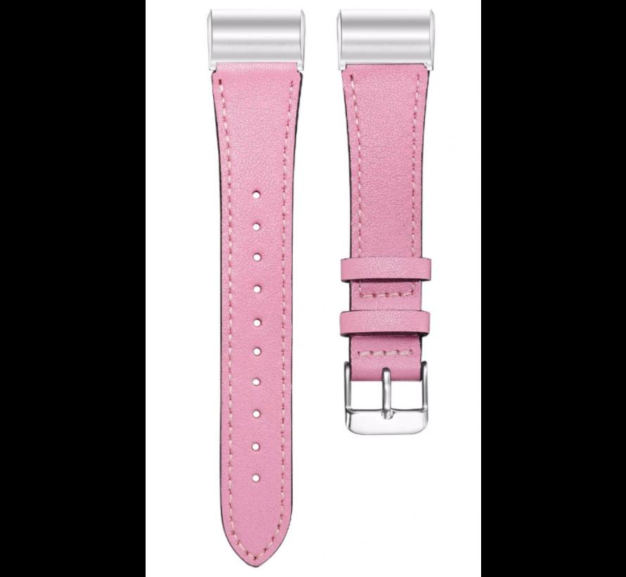 Strap-it® Fitbit Charge 4 bandje leer (roze)