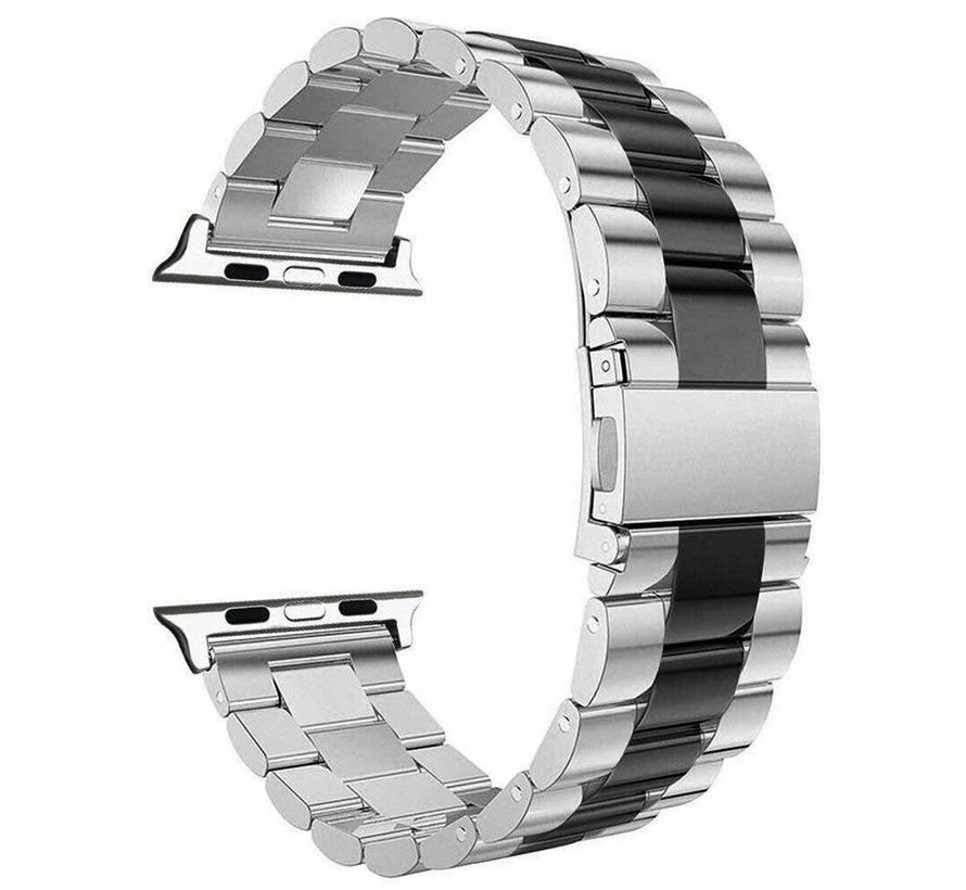Strap-it® Apple Watch stalen band (zilver/zwart)