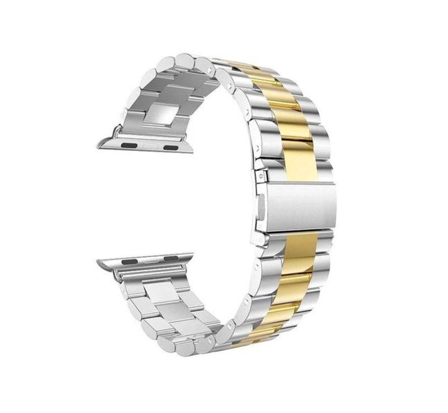 Strap-it® Apple Watch stalen band (zilver/goud)
