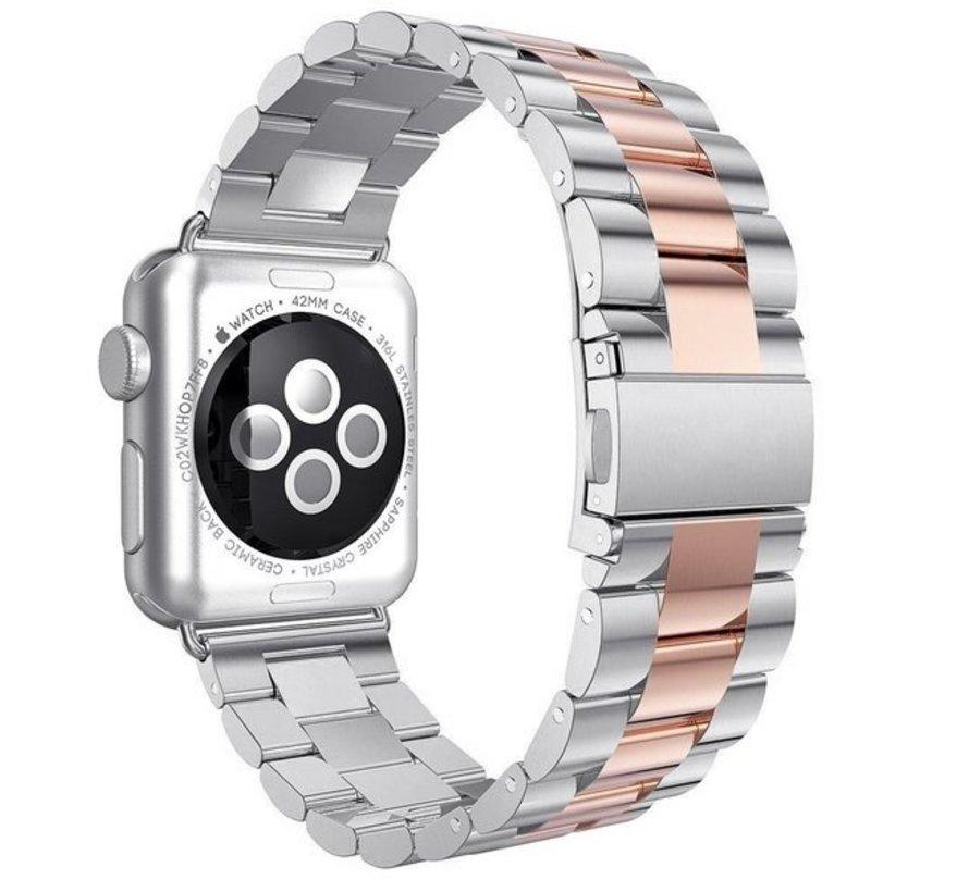 Strap-it® Apple Watch stalen band (zilver/rosé goud)