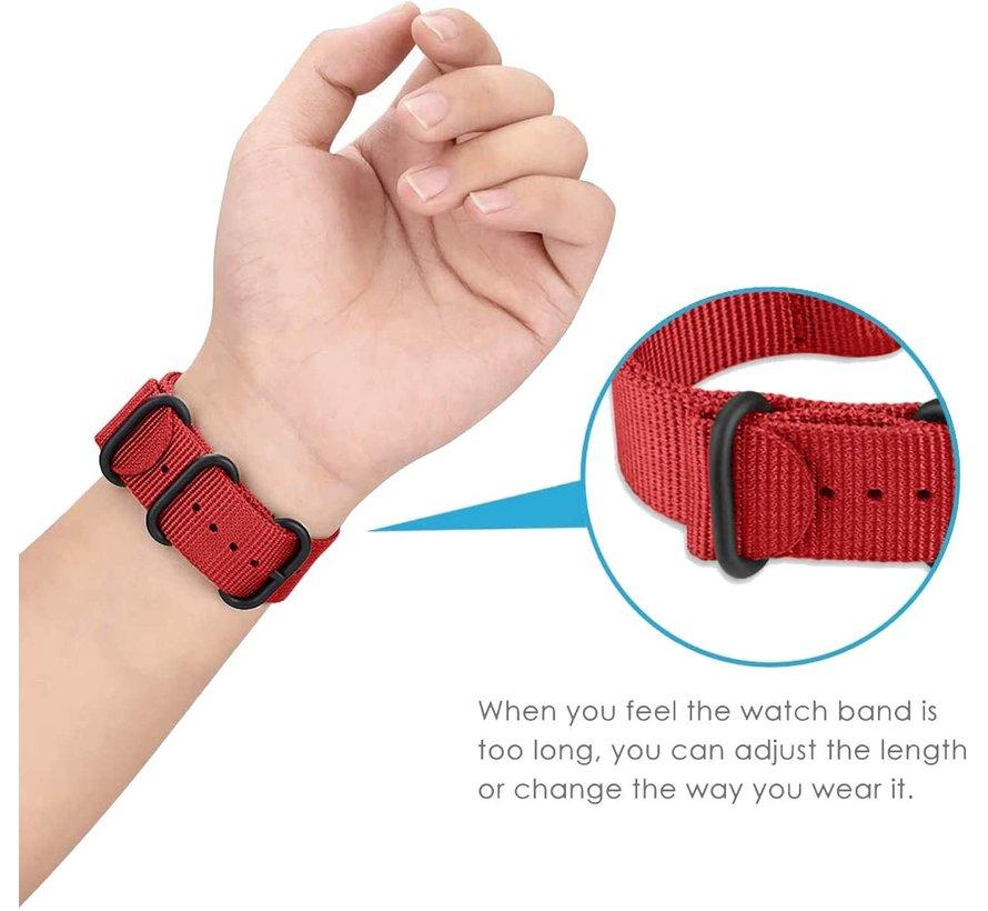 Strap-it® Samsung Galaxy Watch Active nylon gesp band (rood)