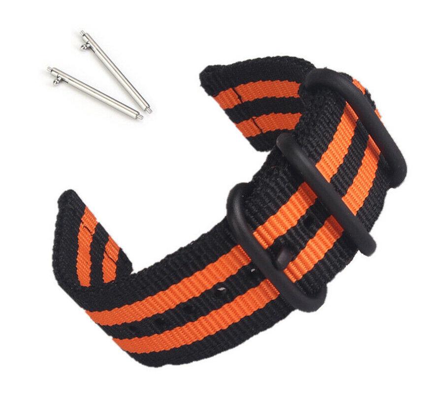 Strap-it® Samsung Galaxy Watch Active nylon gesp band (zwart/oranje)