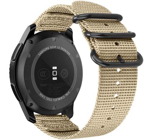 Strap-it® Strap-it® Samsung Galaxy Watch 42mm nylon gesp band (khaki)