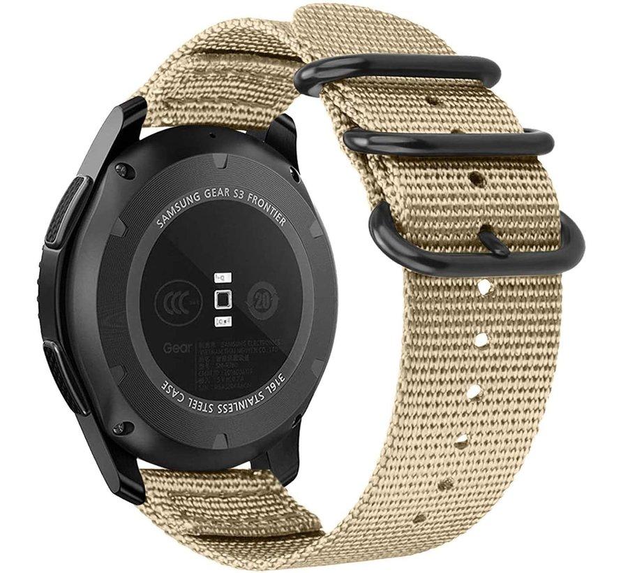 Strap-it® Samsung Galaxy Watch 42mm nylon gesp band (khaki)