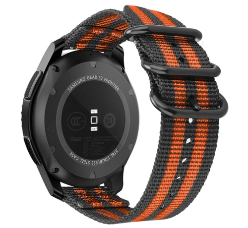 Strap-it® Strap-it® Samsung Galaxy Watch 42mm nylon gesp band (zwart/oranje)