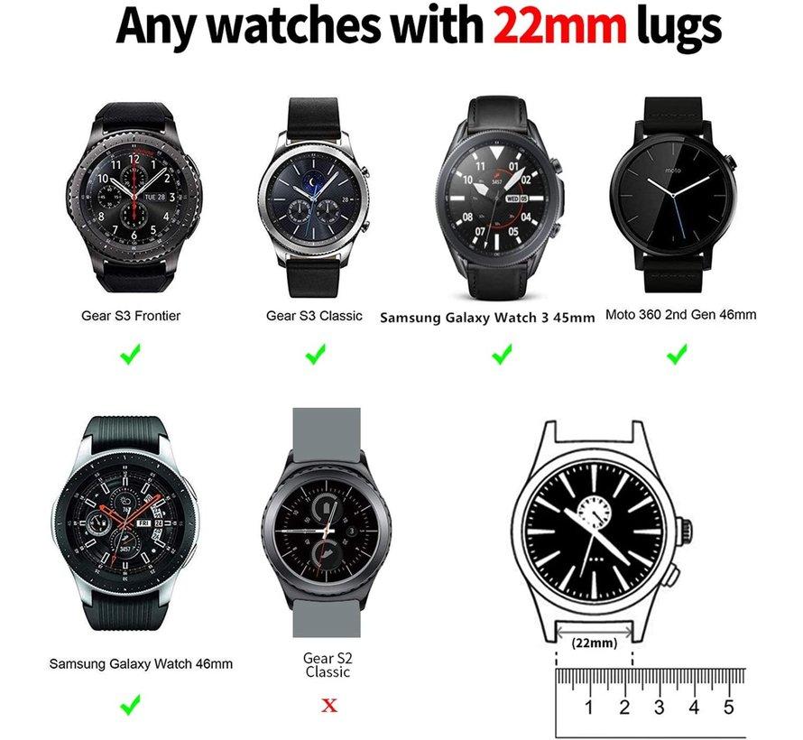 Strap-it® Samsung Galaxy Watch 3 - 45mm nylon gesp band (khaki)