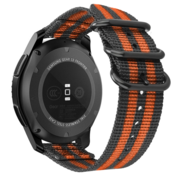 Strap-it® Samsung Galaxy Watch 3 - 45mm nylon gesp band (zwart/oranje)